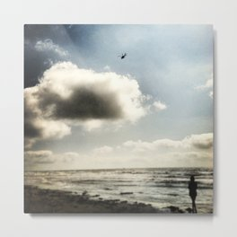 Helicopter over Galveston Metal Print