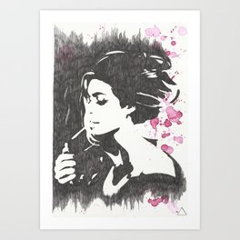 Black woman draw Art Print