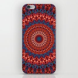 Detailed mandala in red and blue iPhone Skin