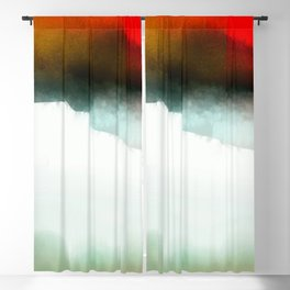 Red, Teal and White Abstract Blackout Curtain