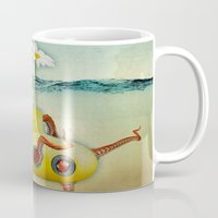 yellow submarine Mugs featuring yellow submarine in an octapuses garden by Vin Zzep