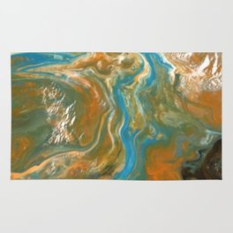 Orange Blue Green Pour Painting Rug