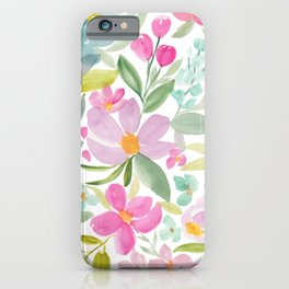 Modern floral watercolor big red pink purple pattern iPhone Case