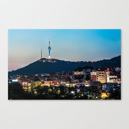 Seoul Tower at Dusk, Seoul, South Korea Canvas Print