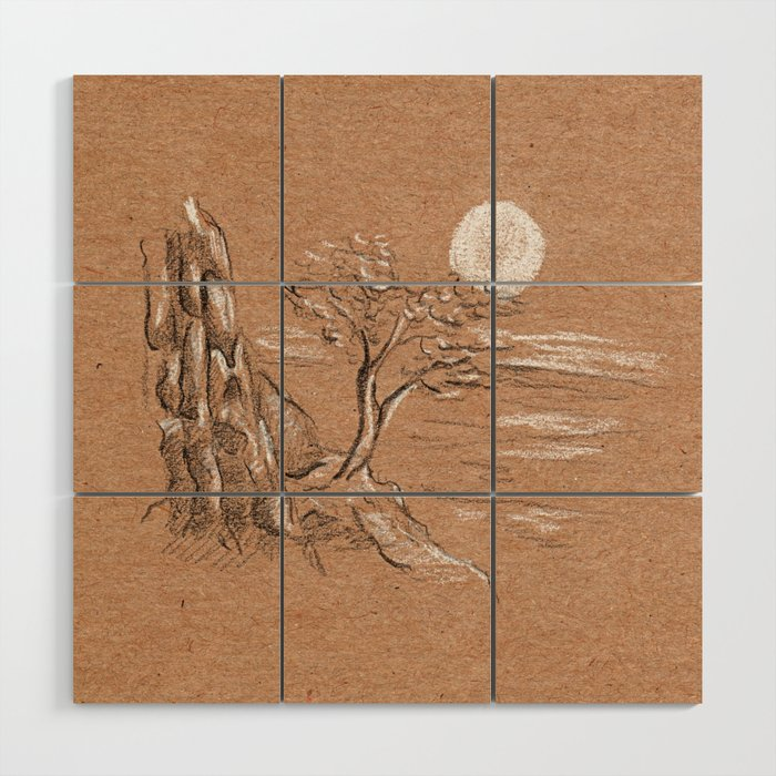 Mountain lonely tree Wood Wall Art
