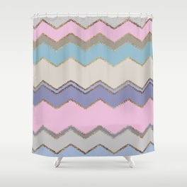 Multi Chevron and Brushed Gold Shower Curtain