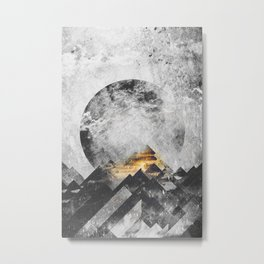 One mountain at a time - Black and white Metal Print