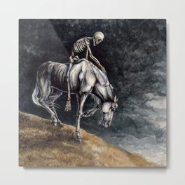 Skeleton Riding a Pale Horse Metal Print