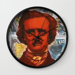 A Portait of Poe Wall Clock