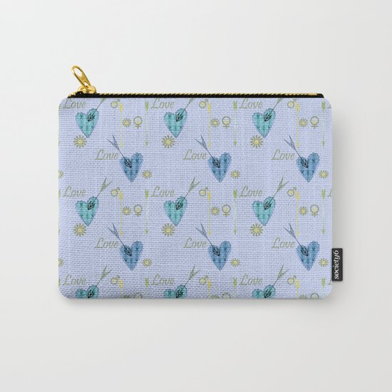 Love . The filigree heart . Blue background . Carry-All Pouch