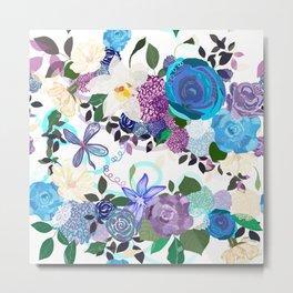 My blue purple roses an vanilla flowers artistic flower Metal Print