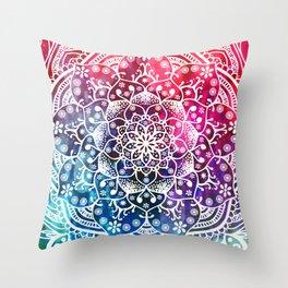 Namaste Red Purple Blue Mandala Throw Pillow