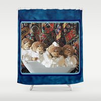 "arctic monkeys Shower Curtains featuring Monkeys ""Tub Monkeys"" by Ruby and Gunther"