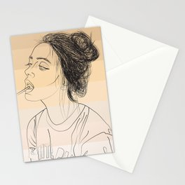 Simple Skintones Drawing of Woman Sucking Lollipop Stationery Cards