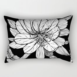 Orchid Cactus in Black and White Rectangular Pillow