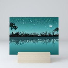 A Garden Silhouette in a Light Sea Green Background Mini Art Print