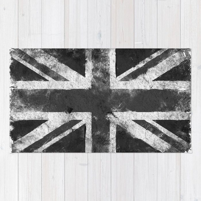 Black and white England Grunge flag Rug