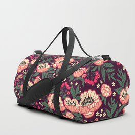 11 Floral pattern with peonies.Bright pink flowers. Dark violet background. Duffle Bag