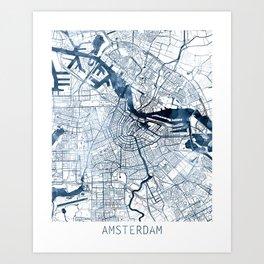 Amsterdam Map Blue Watercolor by Zouzounio Art Art Print