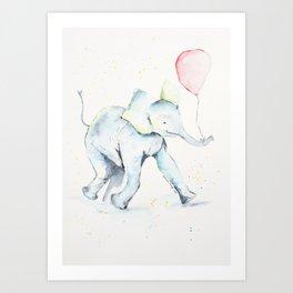 Baby Elephant Baloon Art Print
