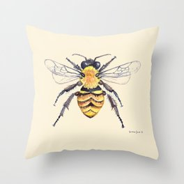 Watercolor Bee Throw Pillow