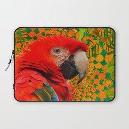 MODERN ART RED MACAW GREEN JUNGLE PATTERNED DESIGN Laptop Sleeve