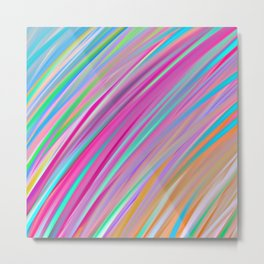 Rainbow print lines, diagonal graphic, abstract print Metal Print