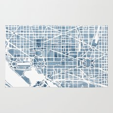 Washington DC Blueprint watercolor map Rug