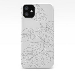 Line Art Monstera Leaves iPhone Case
