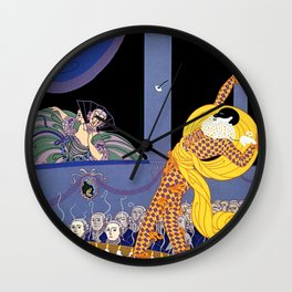 "Erté Illustration ""Harlequin"" in Art Deco Style Wall Clock"