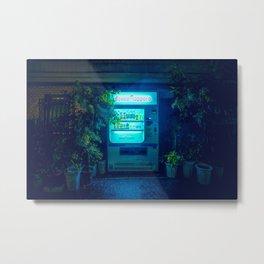 Japanese Vending Machine In The Midnight Rain Metal Print