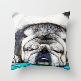 Tuckered Out Pug Throw Pillow