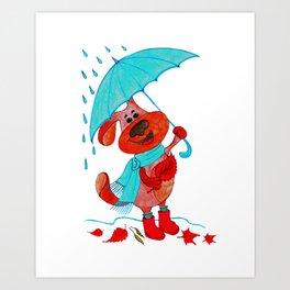 Dog Zahar and Autumn Art Print
