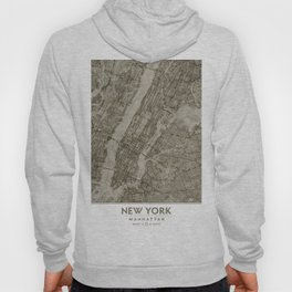 Warm Putty Beige Decor, Manhattan New York City, Antique Vintage Map Hoody