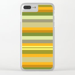 Yellow, Green, Orange Stripes Clear iPhone Case