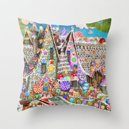 The Gingerbread Mansion Throw Pillow