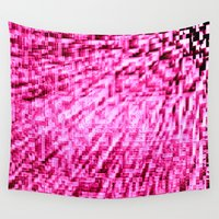 bubblegum Wall Tapestries featuring Pink Pixel Wind by 2sweet4words Designs