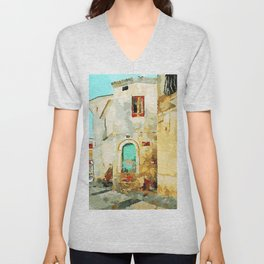 Buildings in the historic center of Tortora Unisex V-Neck
