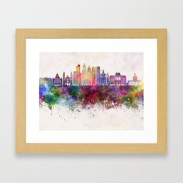 Buenos Aires V2 skyline in watercolor background Framed Art Print