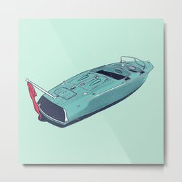 Vintage Wooden Boat Cruiser III - Susanne Johnson Art Metal Print