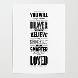 You Are Braver Than You Believe black-white typography poster childrens room nursery wall home decor Poster