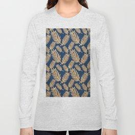 Modern navy blue faux gold glitter tropical floral Long Sleeve T-shirt
