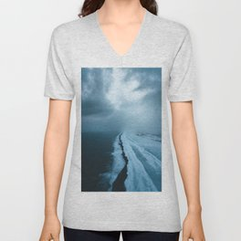 Moody Black Sand Beach in Iceland - Landscape Photography Unisex V-Neck