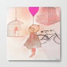 Shelsea  and the birdcage Metal Print