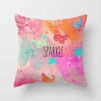 sparkle Throw Pillows featuring Sparkle by SannArt