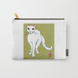 White Kitty Snow Flake with green background Carry-All Pouch