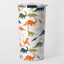 Dinos in Pastel Green and Orange Travel Mug