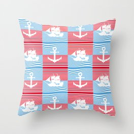Sailboat and anchor pattern Throw Pillow
