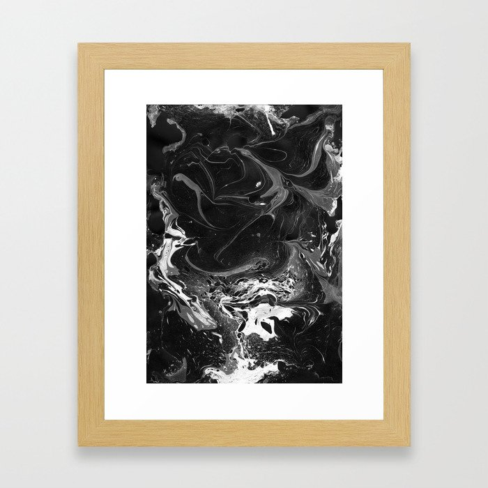 // MARBLED BLACK // Framed Art Print