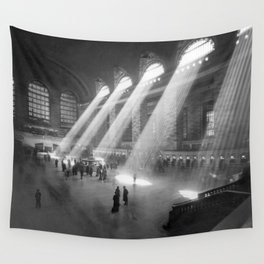 New York Grand Central Train Station Terminal Black and White Photography Print Wall Tapestry
